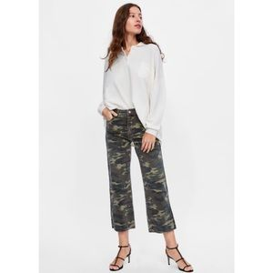 Zara Camo Cropped Flare Pants - Size 10